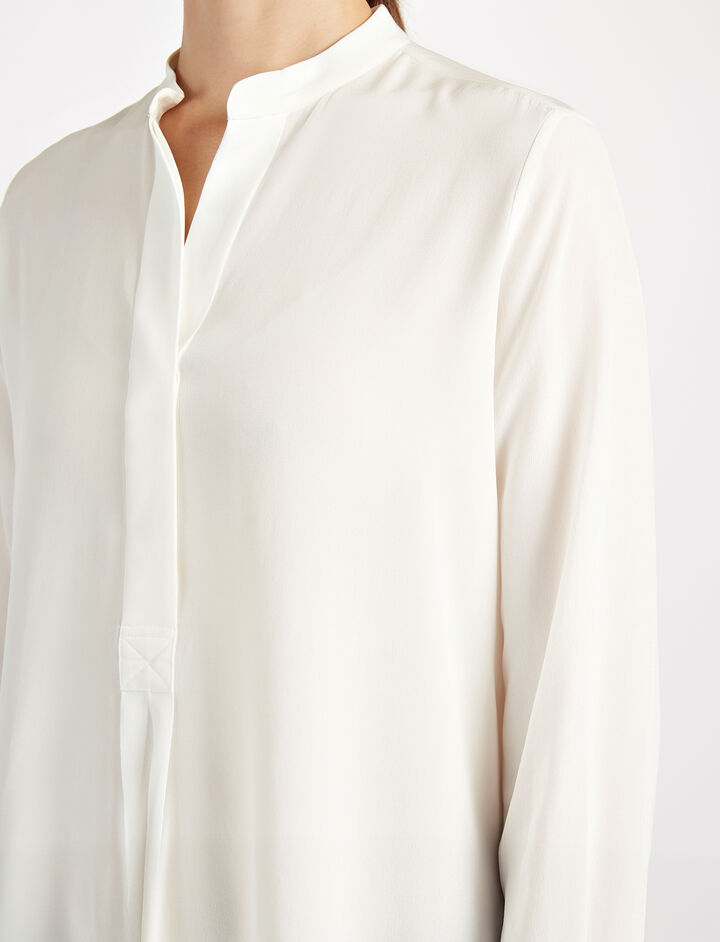 Crepe de Chine Dara Blouse, in OFF WHITE, large | on Joseph