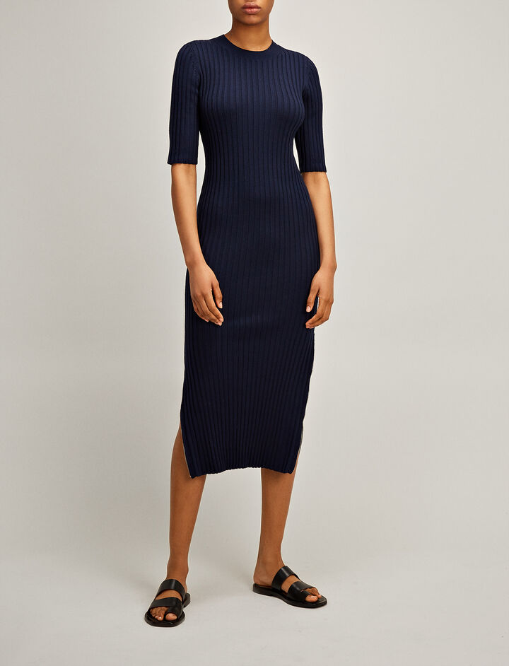 Joseph, Merinos-rib Alaska Dress, in NAVY