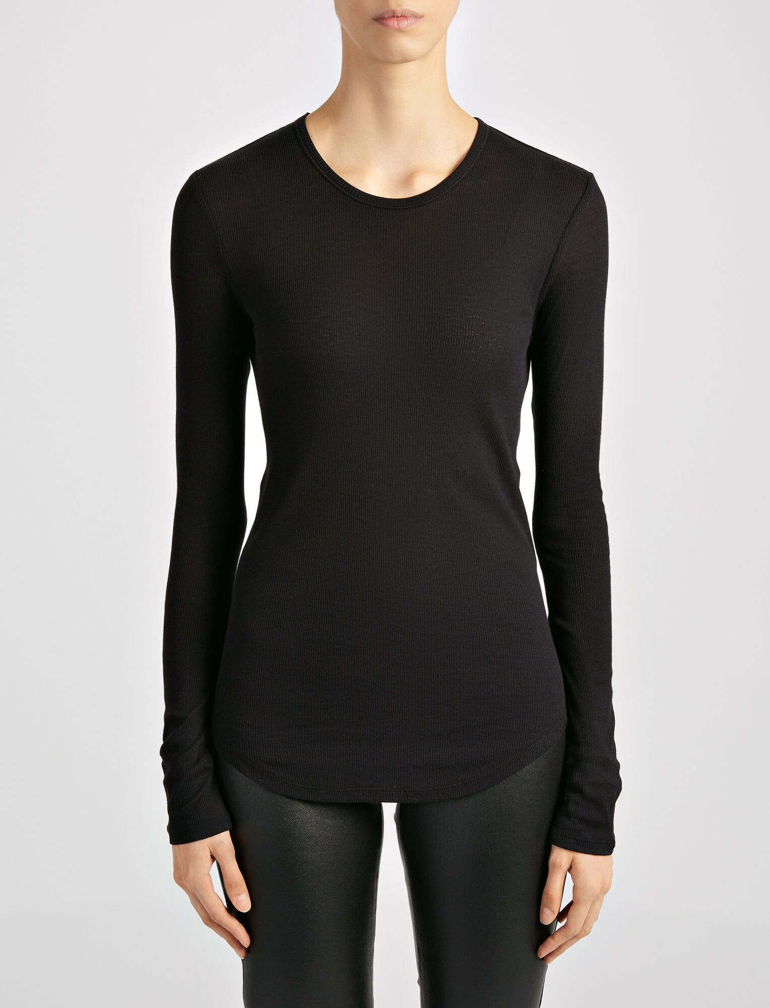 Cotton Cashmere Rib Top, in BLACK, large | on Joseph