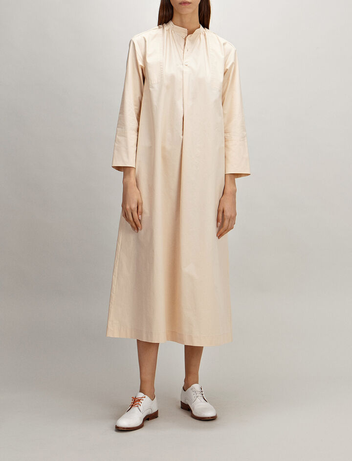 Cotton Poplin Marly Dress, in PEARL, large | on Joseph