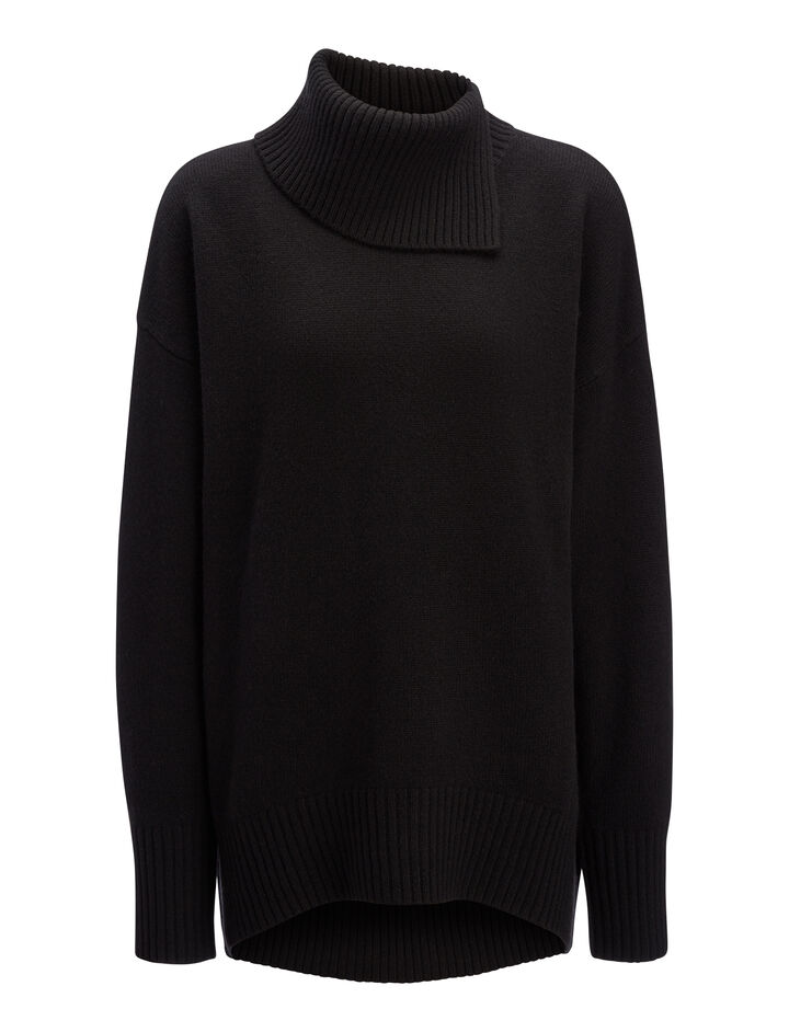 Soft Wool High Neck Sweater, in BLACK, large | on Joseph
