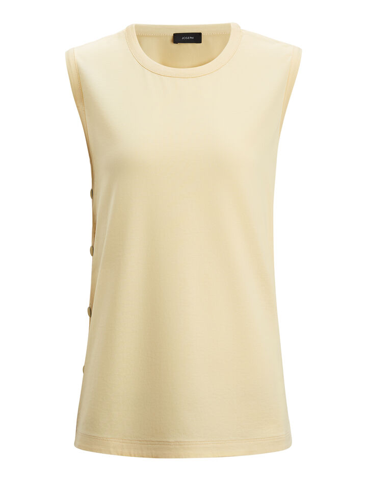 Joseph, Silk Satin and Jersey Tank, in CUSTARD