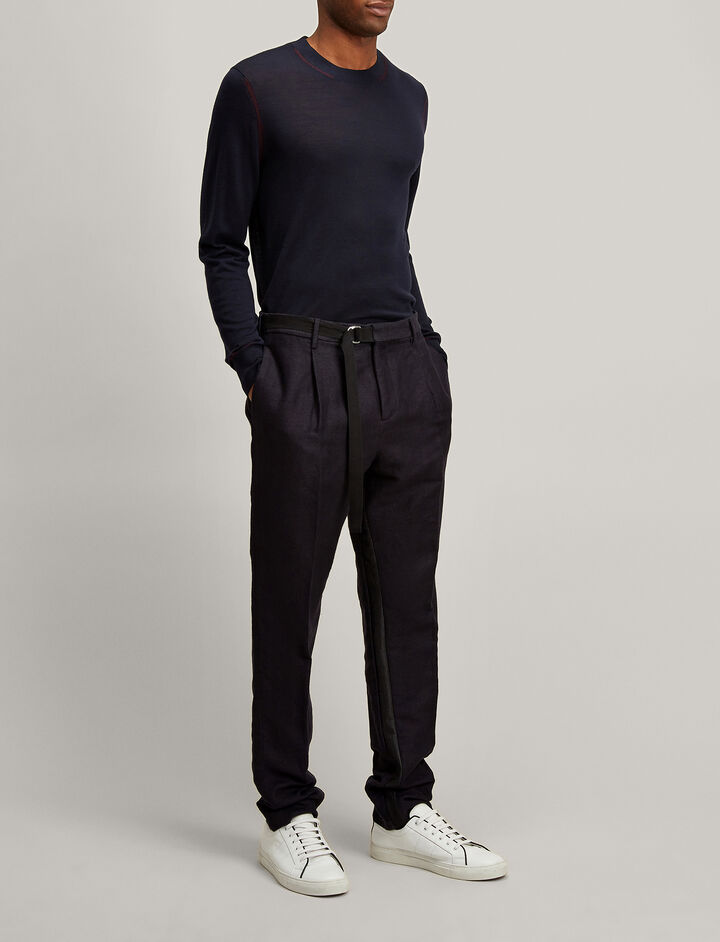 Brushed Twill Anderson Tuxedo Trousers, in NAVY, large | on Joseph