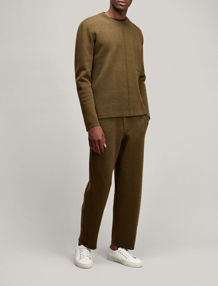 Joseph, Crew Neck Double Knit, in MILITARY