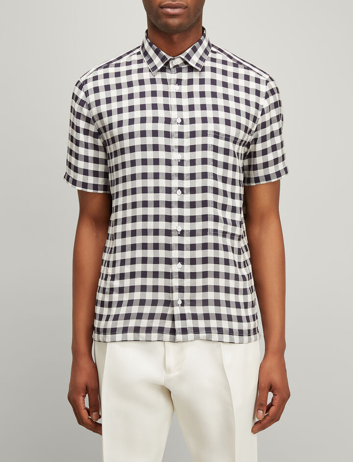 Joseph, Gingham Jacquard Dover Shirt, in NAVY