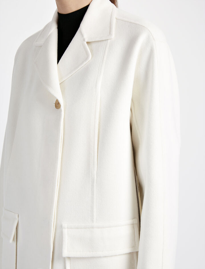 Double Wool Caplan Short Coat, in CHALK, large | on Joseph