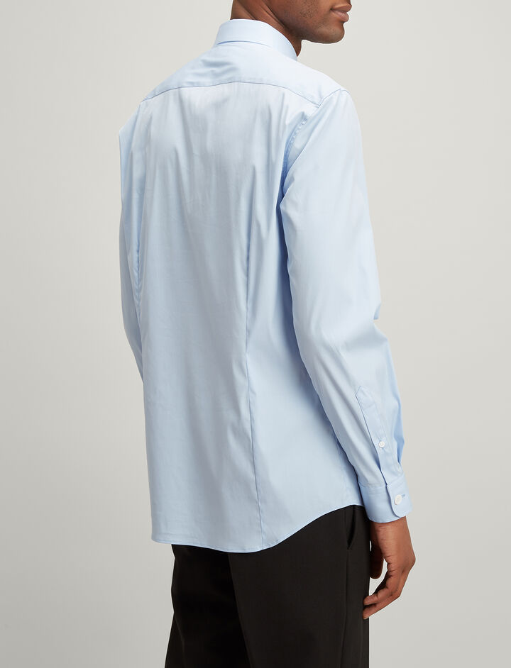 Poplin Stretch Delano Shirt, in SKY BLUE, large | on Joseph