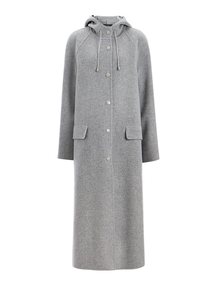 Joseph, Double Wool Rowen Coat, in GREY CHINE