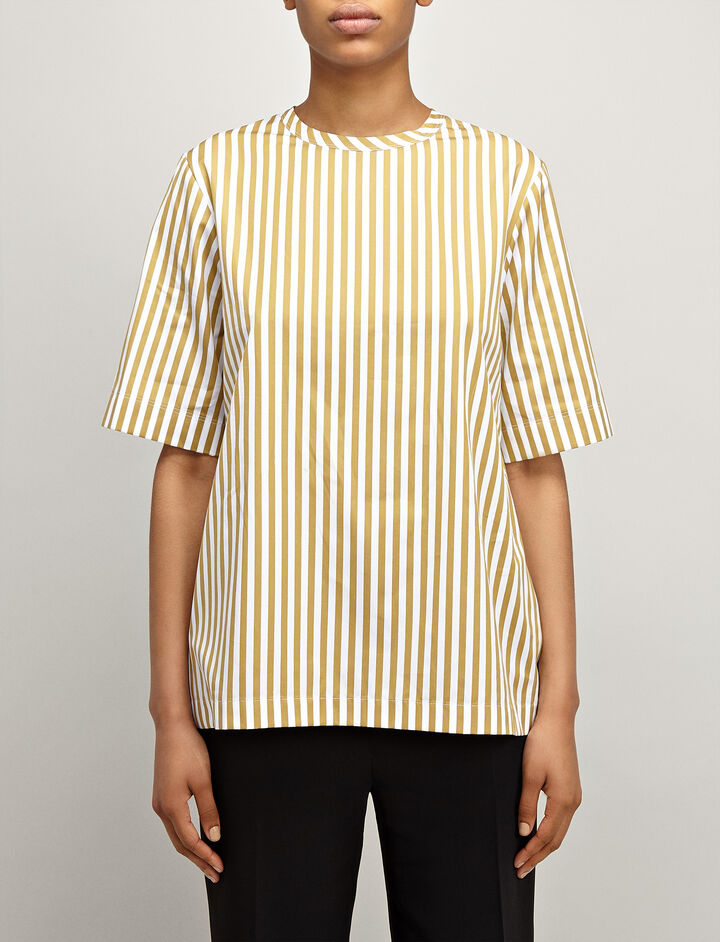 Candy Stripe Cotton Foley Blouse, in TAWNY, large | on Joseph
