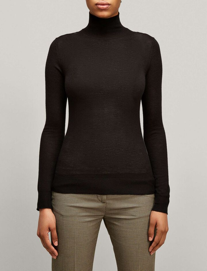 Joseph, High Neck Cashair Knit, in BLACK