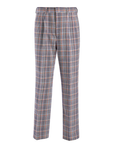 Elton Check Kennet Cropped Trousers, in NAVY, large | on Joseph