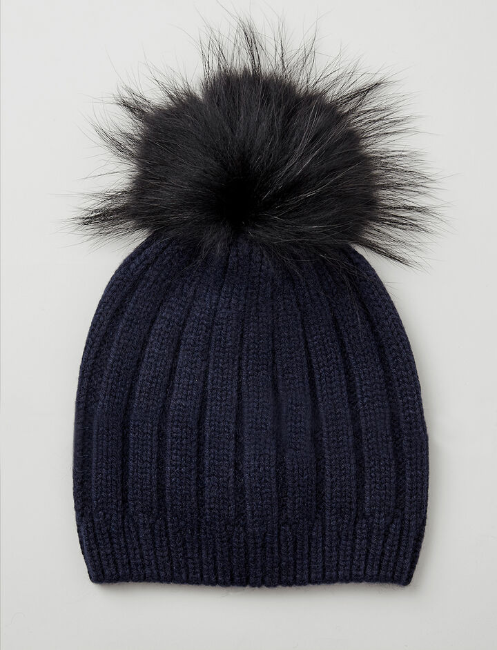 Bonnet Pompon en cachemire luxe, in NAVY, large | on Joseph