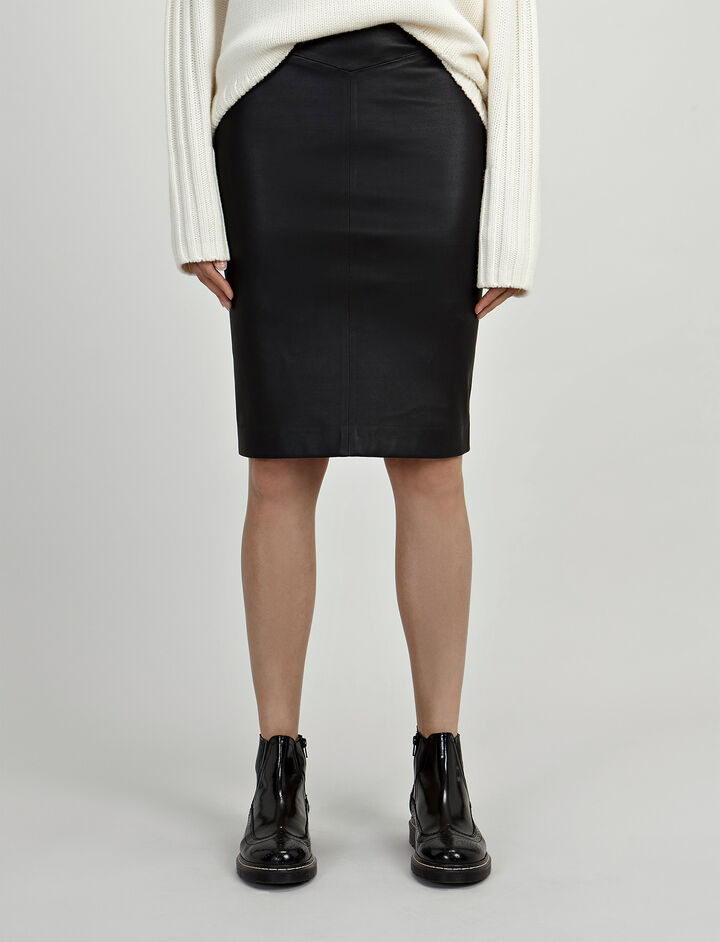 Joseph, Leather Stretch Clara Skirt, in BLACK