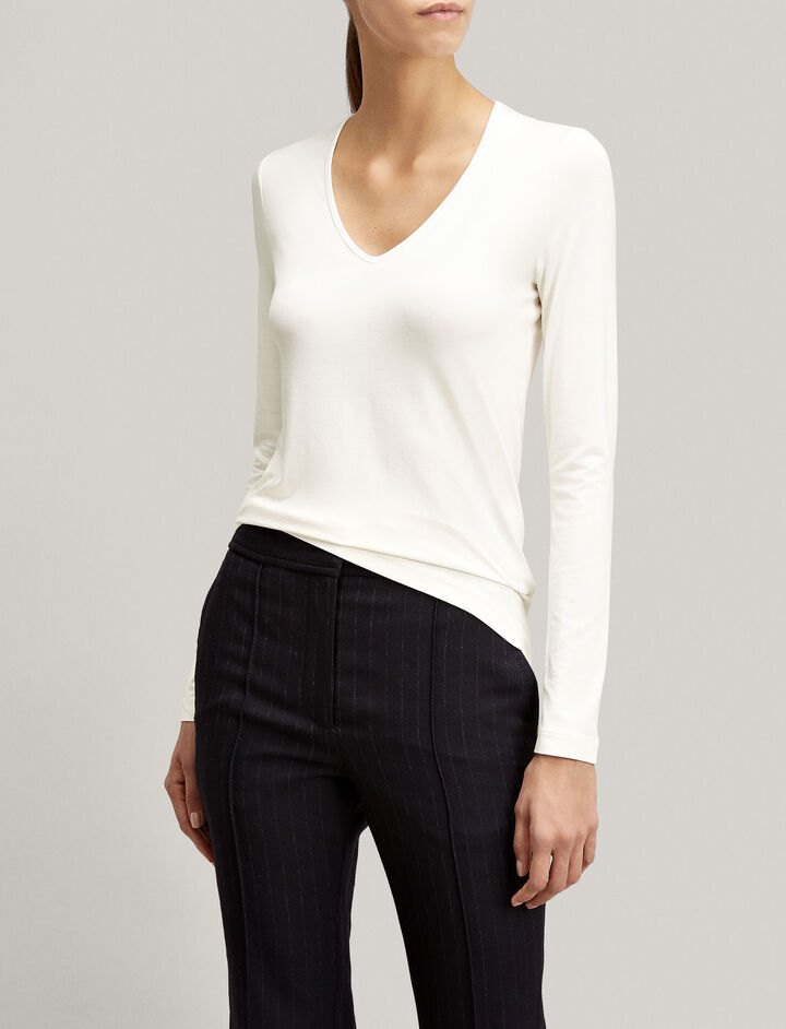 Joseph, Stretch Jersey V Neck Tee, in ECRU