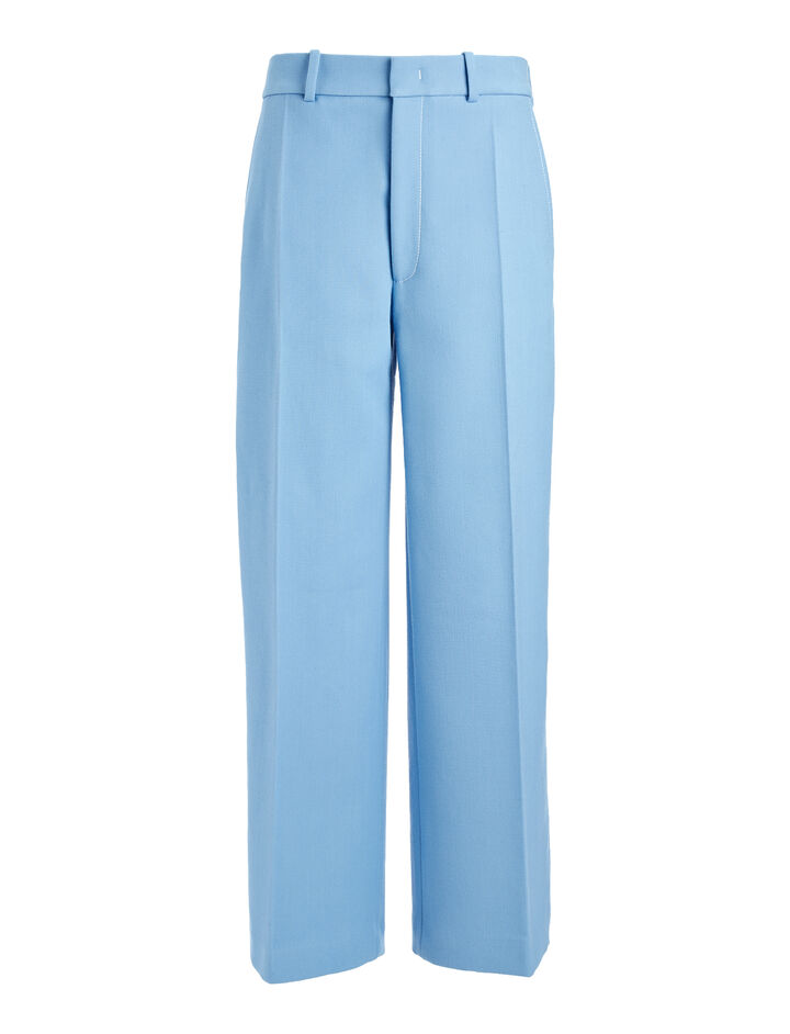 Cotton Wool Twill Ferrandi Crop Trousers, in CIEL, large | on Joseph