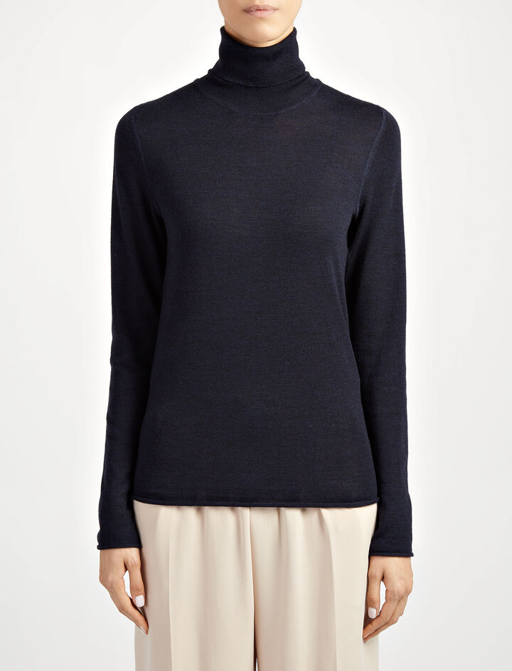Fine Merinos Roll Neck Sweater, in NAVY, large | on Joseph