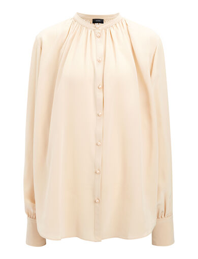 Crepe de Chine Everett Blouse, in STOCKING, large | on Joseph
