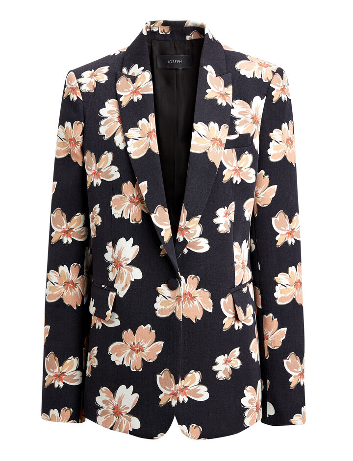 Winter Floral Wool Hampstead Jacket, in MULTICOLOUR, large | on Joseph