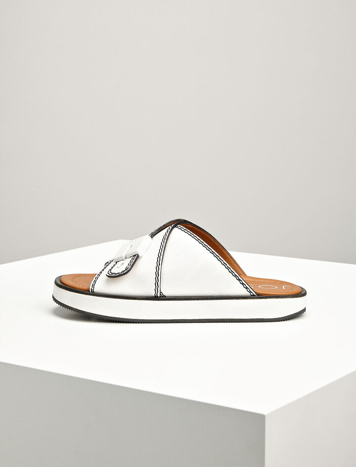 Joseph, Leather Guide Sandals, in OFF WHITE