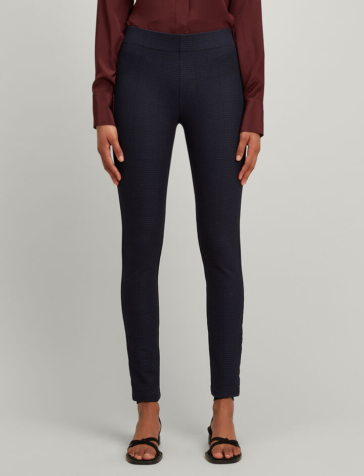 Gabardine Stretch Pince Of Wales Check Leggings, in NAVY, large | on Joseph
