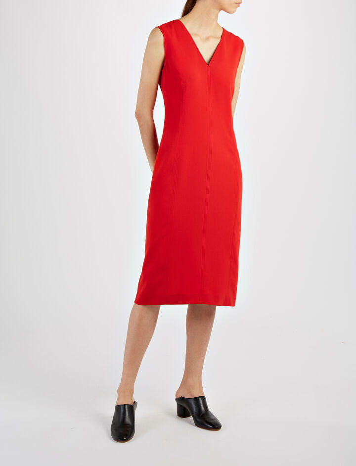 Stretch Flou Dana Dress , in RUBY, large | on Joseph