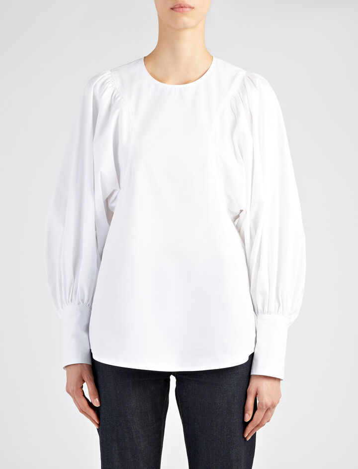 Prim Poplin Flynn Top Blouse, in WHITE, large | on Joseph