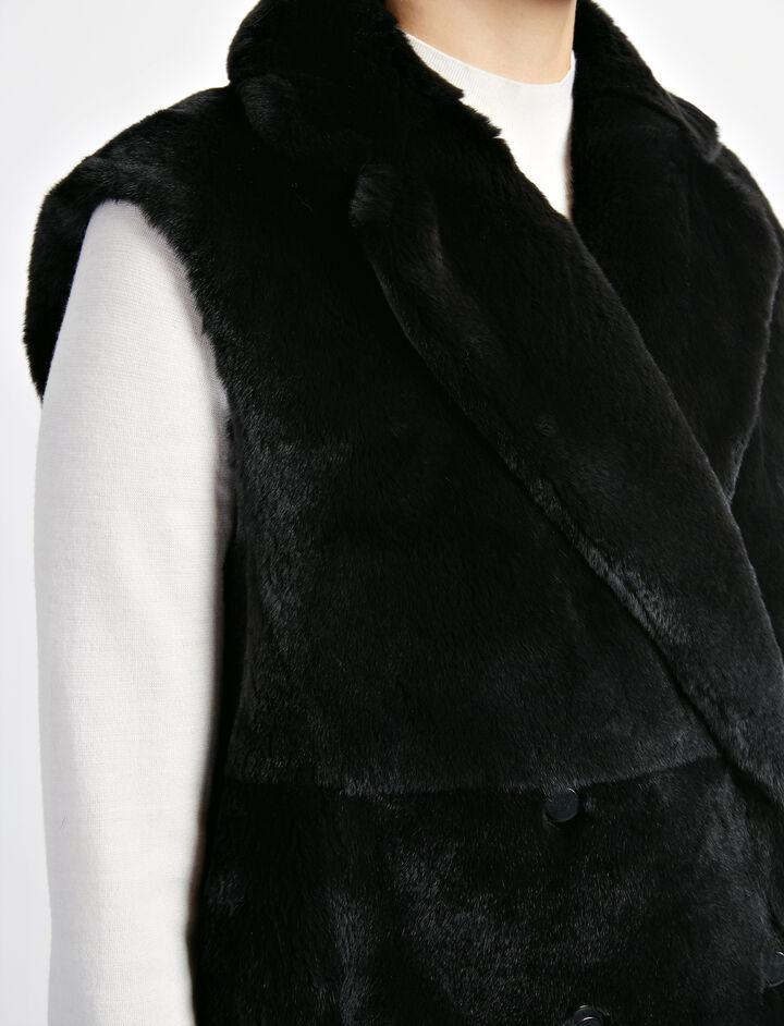 Rex Fur Ringo Sleeveless Sheepskin Jacket, in BLACK, large | on Joseph
