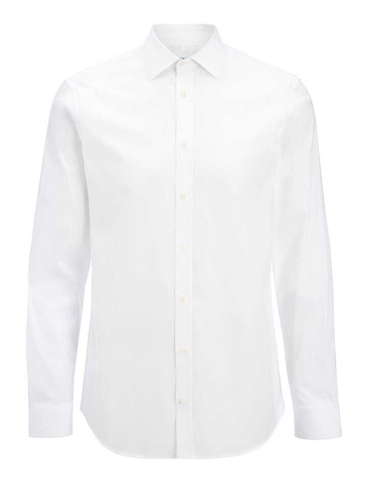 Joseph, Poplin and Poplin Stretch Cecil Shirt, in WHITE