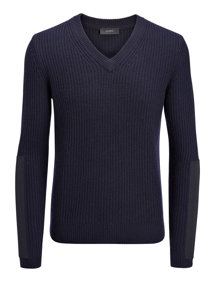 Military Cashmere V Neck Sweater, in NAVY, large | on Joseph