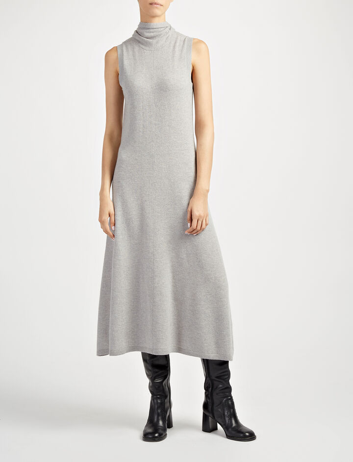 Soft Wool Joane Dress, in CONCRETE, large | on Joseph