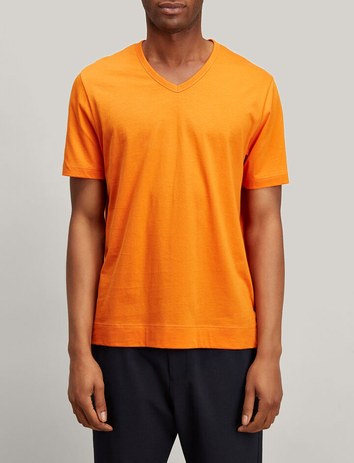 Joseph, Mercerized Jersey V Neck Tee, in FIRE