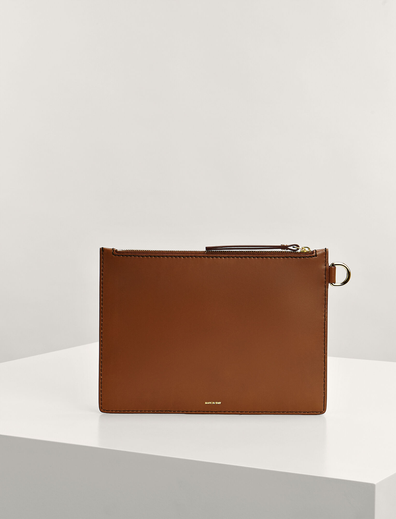 Calf Leather Large Pouch, in SADDLE, large | on Joseph