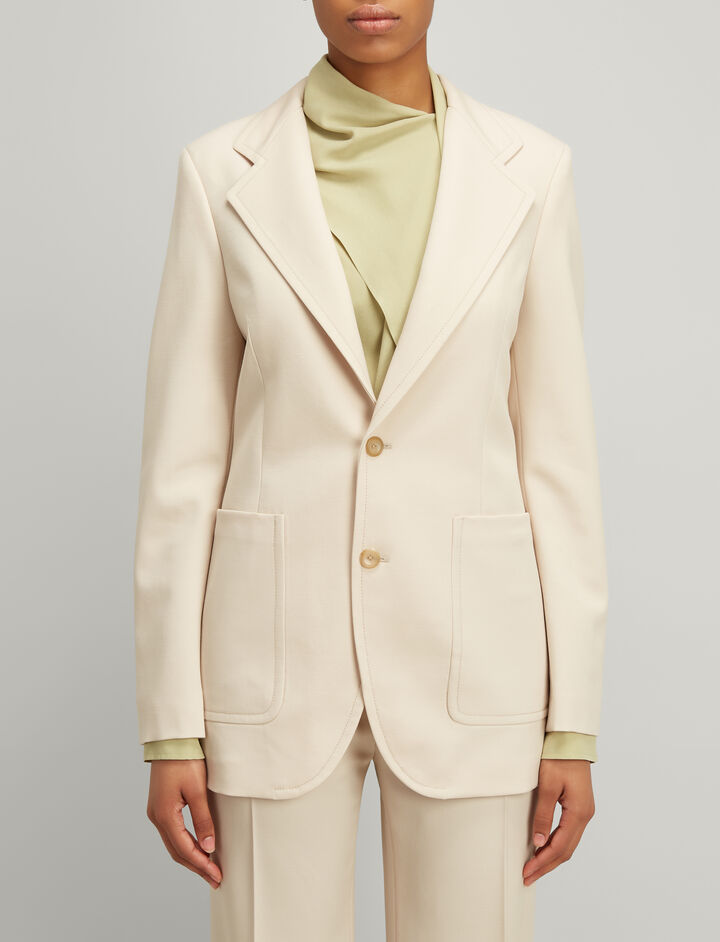 Stretch Wool Albert Jacket, in BEIGE, large | on Joseph