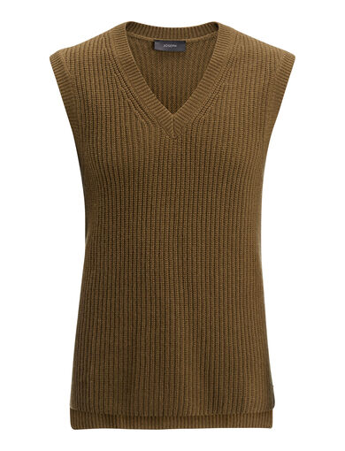 Pull col V en cardigan cachemire, in Army, large   on Joseph