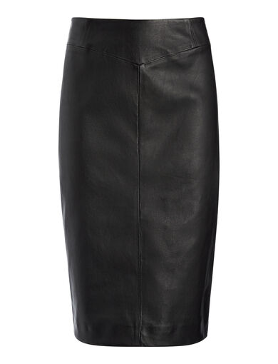 Leather Stretch Clara Skirt, in BLACK, large | on Joseph