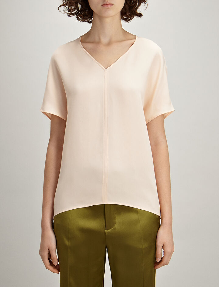 Crepe Silk Nevin Blouse, in CERAMIC, large | on Joseph