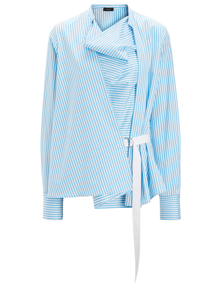 Joseph, Candy Stripe Cotton Arran Top, in LIGHT BLUE