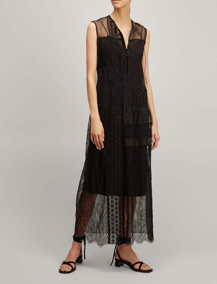 Joseph, Patchwork Embroidery Curtis Dress, in BLACK