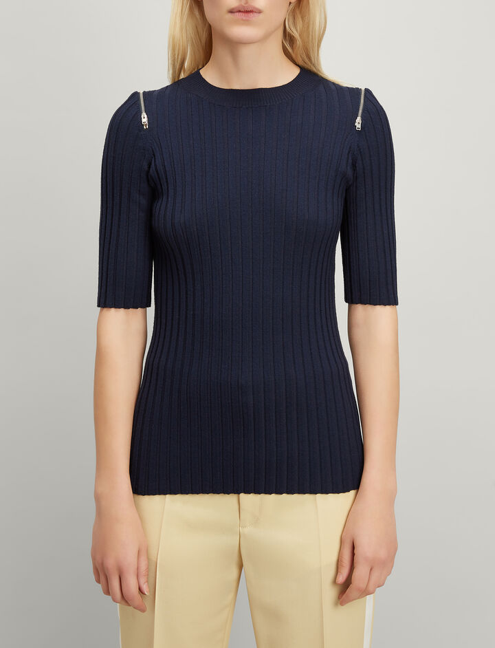 Merinos-rib Short Sleeve Sweater, in NAVY, large | on Joseph