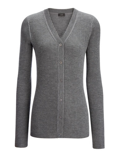 Wool Silk Cashmere Rib V Neck Cardigan, in GRAPHITE, large | on Joseph