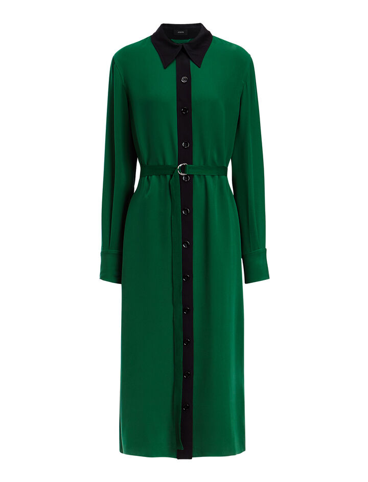 Crepe Silk Lucas Dress, in EMERALD, large | on Joseph