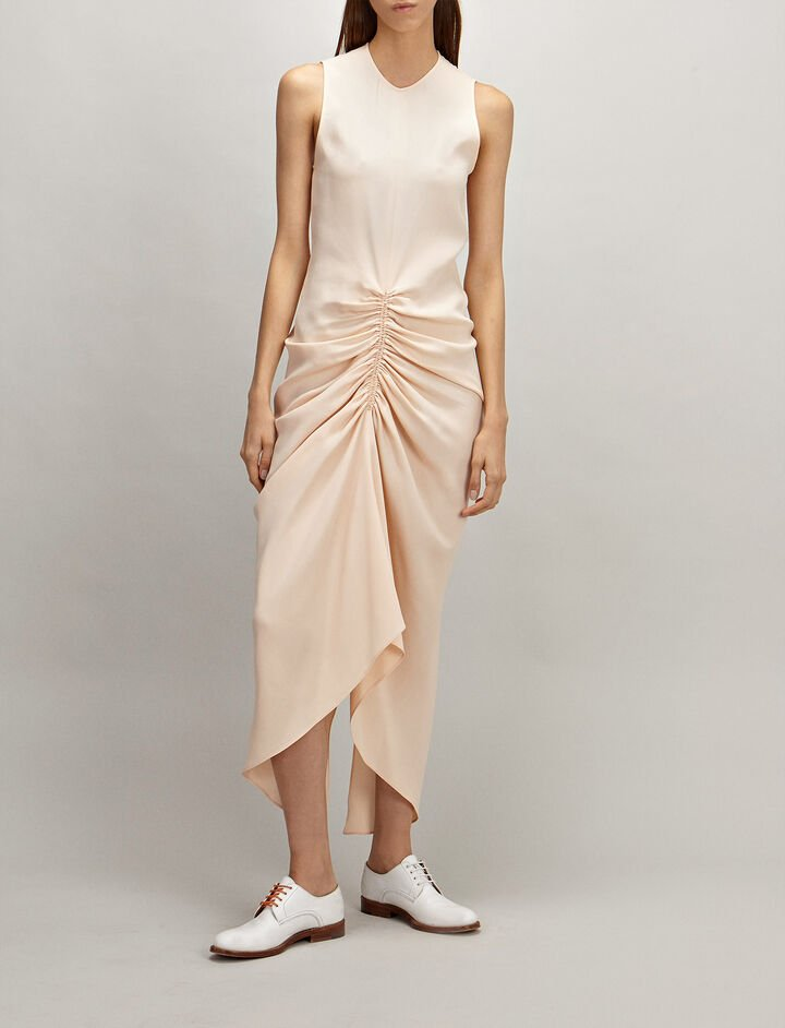 Crepe Silk Zadie Dress, in CERAMIC, large | on Joseph