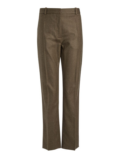 Flannel Stretch Zoom Trousers, in MILITARY, large | on Joseph