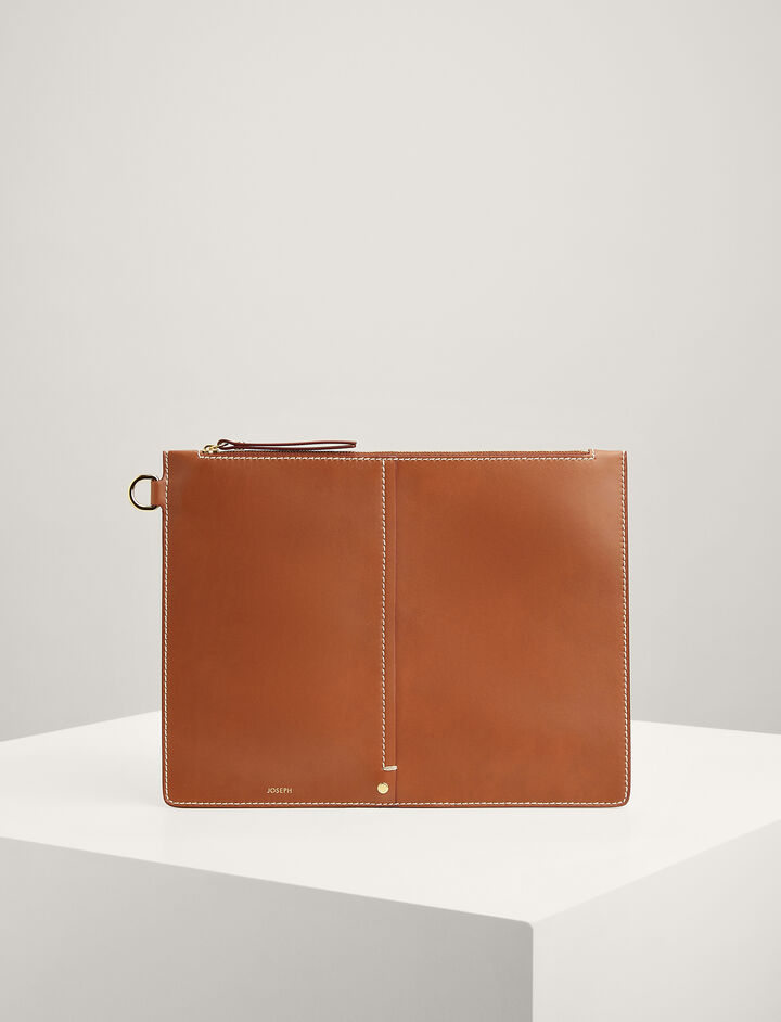 Calf-Leather Extra-Large Pouch, in SADDLE, large | on Joseph