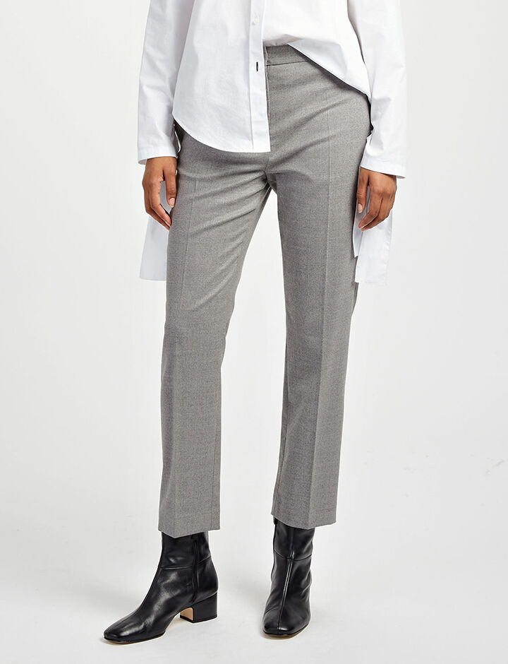 Joseph, Flannel Stretch Zoom Trousers, in CONCRETE