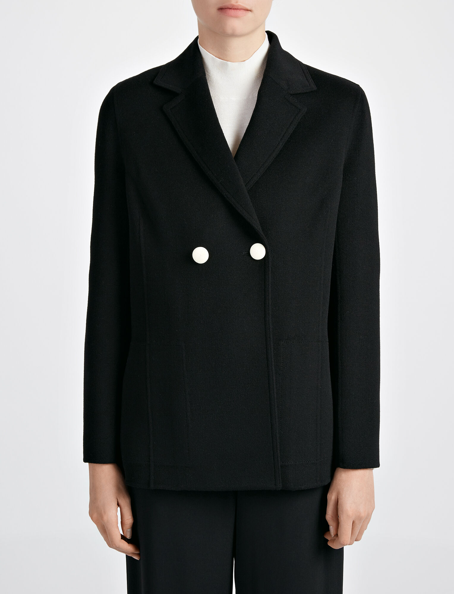 Joseph, Light Double Cashmere Brest Jacket, in BLACK