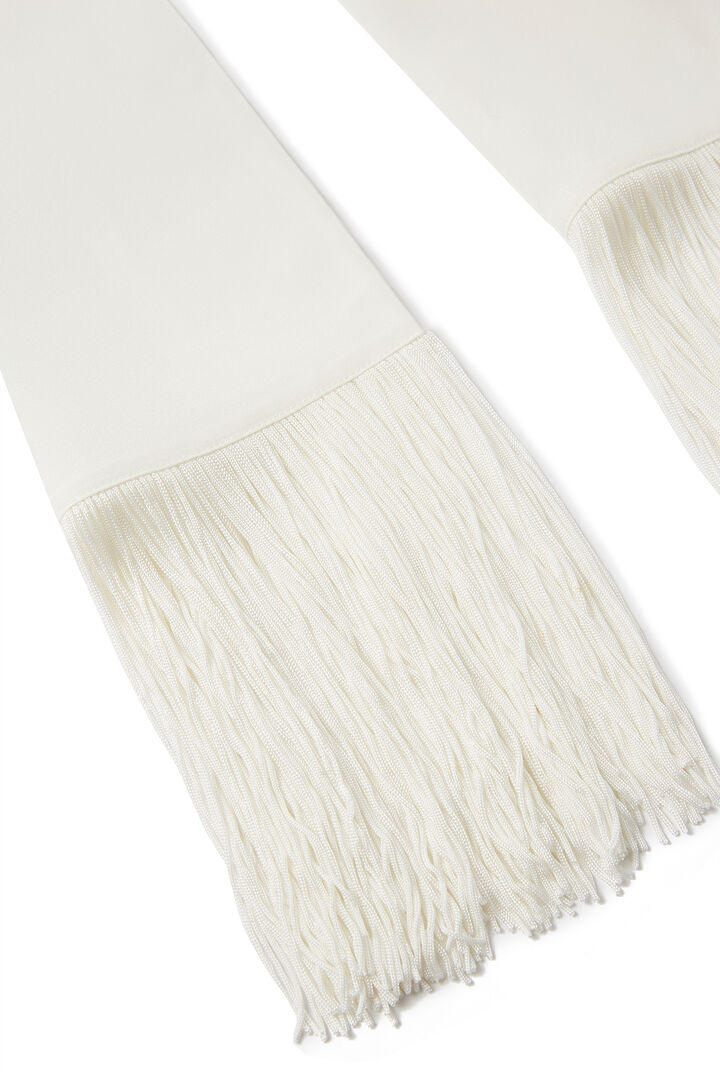Crepe de Chine Silk Tassle Scarf, in OFF WHITE, large | on Joseph