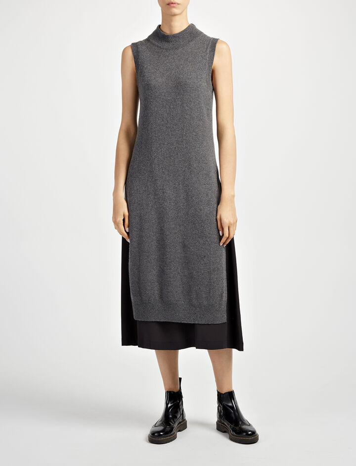 Wool Cashmere + Crepe de Chine Joy Dress, in GRAPHITE, large | on Joseph