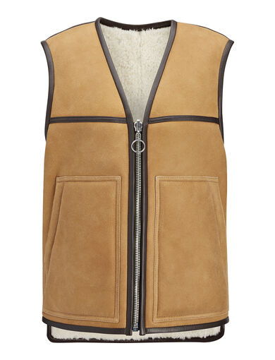 Suede Sheepskin Lincoln Sheepskin Gilet, in COGNAC, large | on Joseph