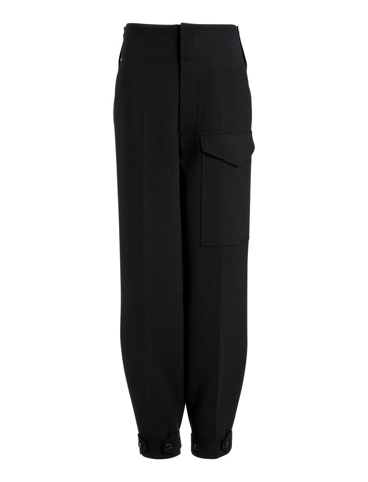 Bi-Stretch Wool Exelb Trousers, in BLACK, large | on Joseph
